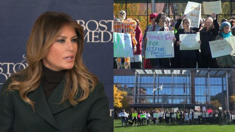 第一夫人造访波士顿医院 遭医护人员门口抗议