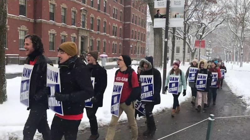 """""""看不起病""""哈佛研究生院员工罢工"""