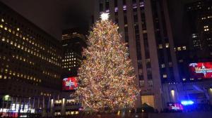 纽约最大圣诞树点亮 看情侣如何在树下花样撒狗粮