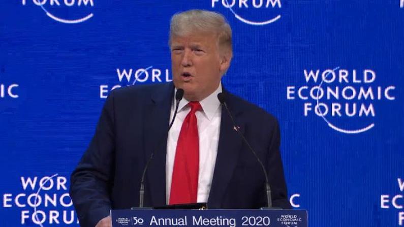 """美国开创了""""21世纪新型贸易模式"""" 川普达沃斯大夸经济成就"""