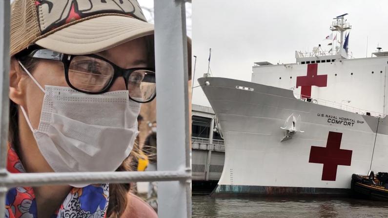 """""""安慰号""""靠港纽约曼哈顿 志愿者护士:看到它我哭了"""