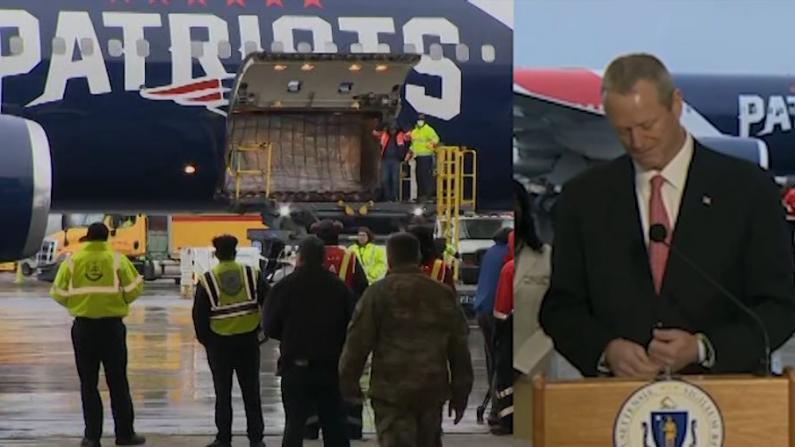 爱国者队专机载百万口罩从中国抵达麻州 州长接机哽咽落泪
