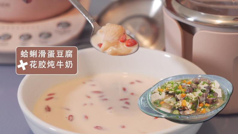 秋季营养滋补不能停:花胶牛奶+蛤蜊滑蛋豆腐