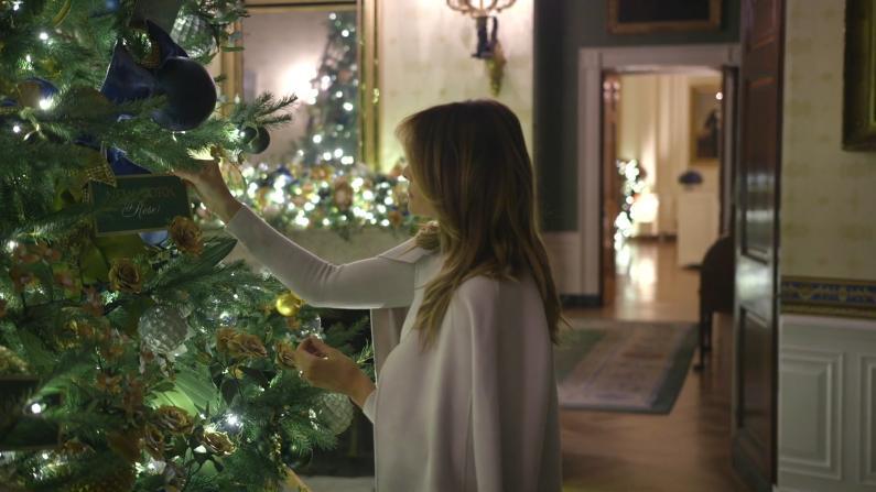 """""""美国精神""""点缀 第一夫人公布白宫圣诞装饰"""