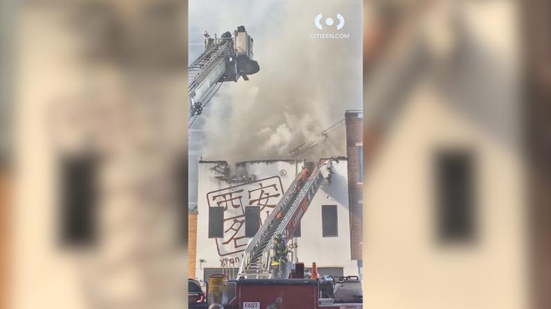 """""""西安名吃""""着火了!上百消防员扑灭纽约中餐馆三级大火"""