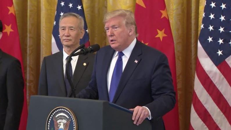 川普:美中首阶段贸易协议是历史性一步
