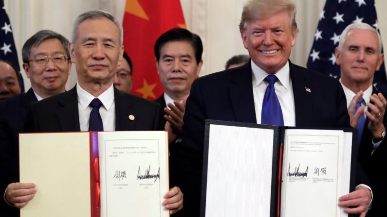 美中签署首阶段贸易协议现场实录