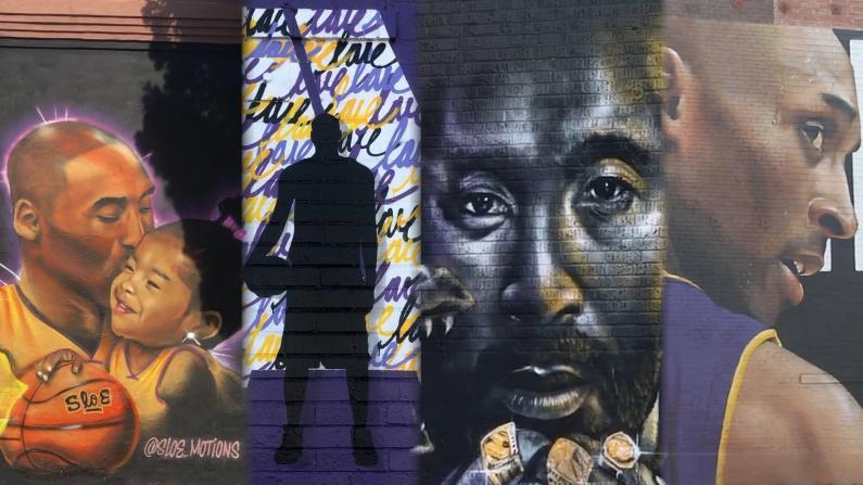 """""""这个城市失去了传奇"""" 洛杉矶街头巨幅涂鸦悼念科比"""