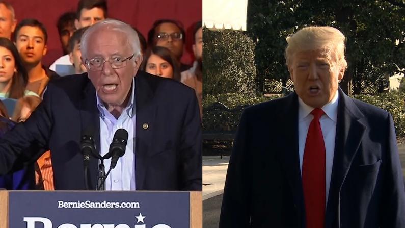 桑德斯领跑民主党初选 川普: 恭喜伯尼 谁和我竞争都一样