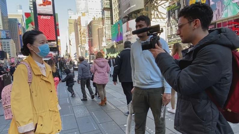 """【探访时报广场】陷入""""紧急状态""""的纽约人:我坚决不戴口罩!"""