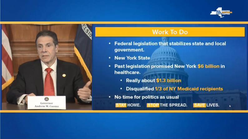 """纽约州长:疫情重创经济超9/11 1/3纽约人将失""""白卡"""""""