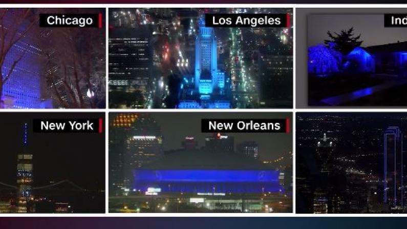 纽约洛杉矶芝加哥……全美亮蓝致敬医护
