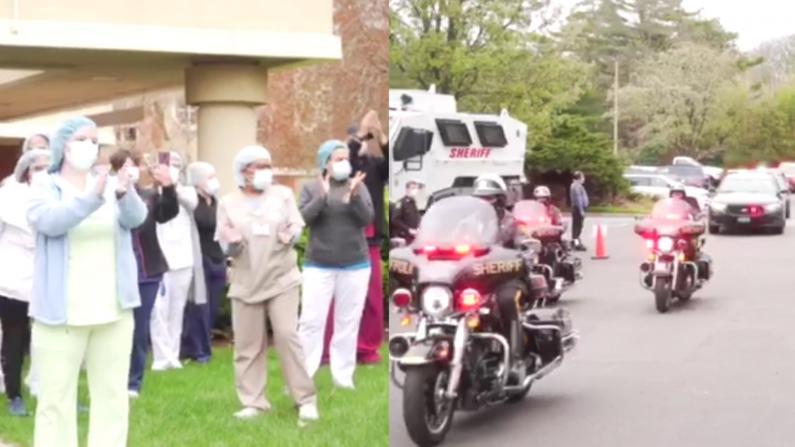 纽约长岛苏福克警局警车鸣笛游行 感激一线医护人员