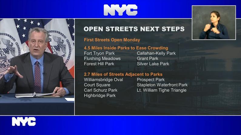 保持社交距离!纽约市开放7英里公园街道缓解人流