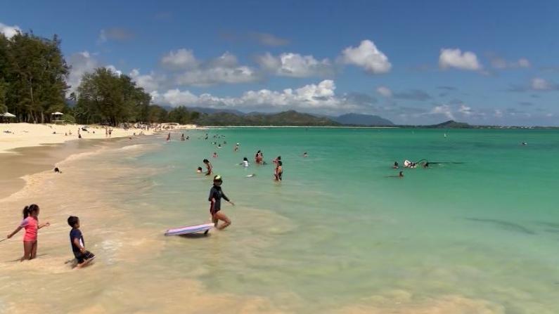 夏威夷海滩重开 游客如织