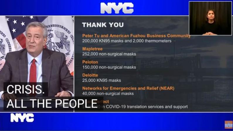 华社捐20万口罩 纽约市长特别致谢杜彼得和闽籍社区