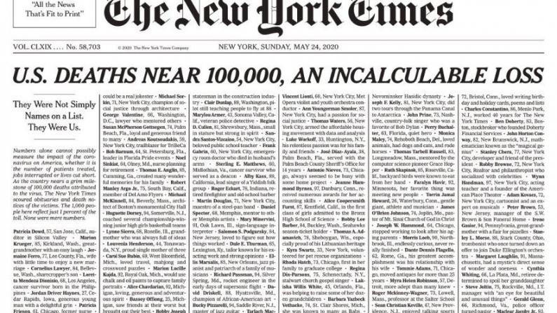 """纽约时报头版列千名新冠死者姓名:""""他们曾是我们"""""""