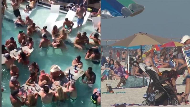 国殇日周末人群挤爆泳池海滩 社交距离恍若无物