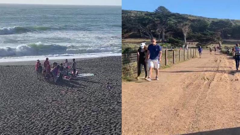 高温袭来湾区民众涌向海滩 过半民众不戴口罩