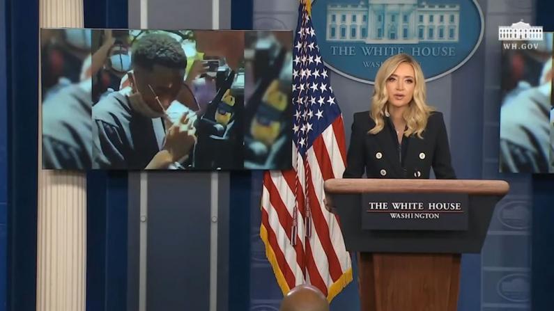 """白宫发言人播放""""正能量""""视频 呼吁关注抗议中美好画面"""