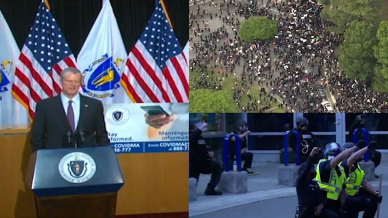 波士顿警方下跪支持游行诉求 州长:感谢和平示威 但麻州仍处于疫情高危期