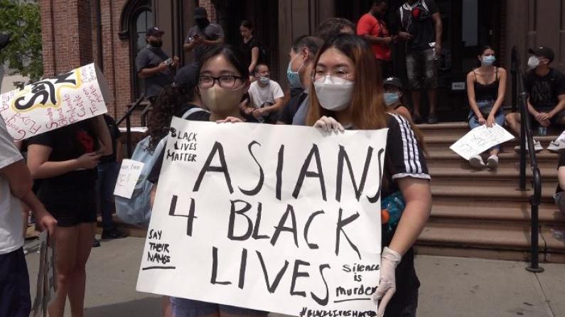 纽约法拉盛游行吁和平发声 亚裔青年:父母不同意但我必须站出来