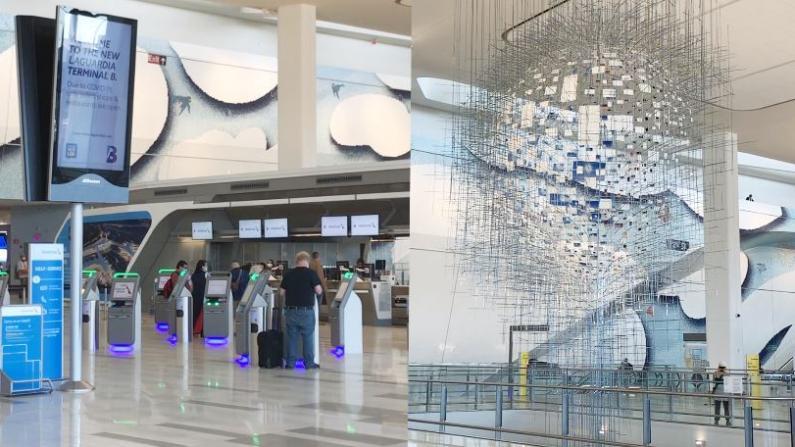 """纽约拉瓜迪亚机场翻新被赞""""很美很先进"""" 疫情期加强防护"""