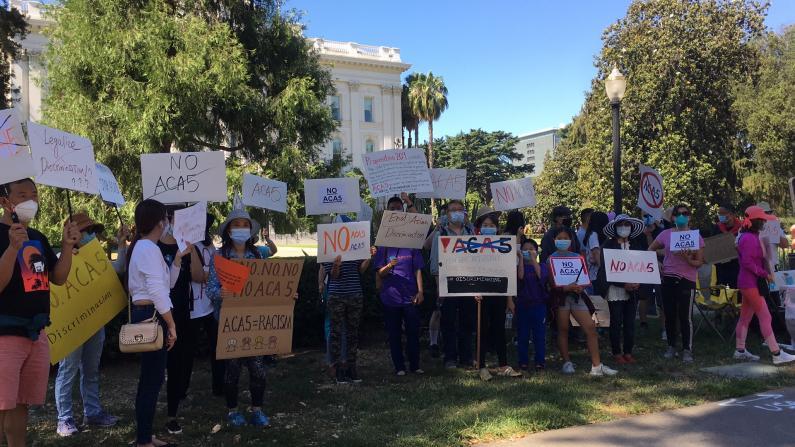 加州ACA5法案参议会再度通过 华人凌晨4点出发州府门口抗议
