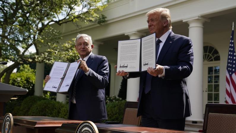 【现场】纪念美墨加贸易协议生效 美墨总统签联合声明 独缺特鲁多