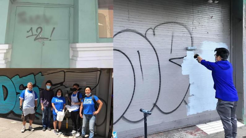 旧金山华埠现大量恶意涂鸦 热心志愿者帮商家涂漆清理