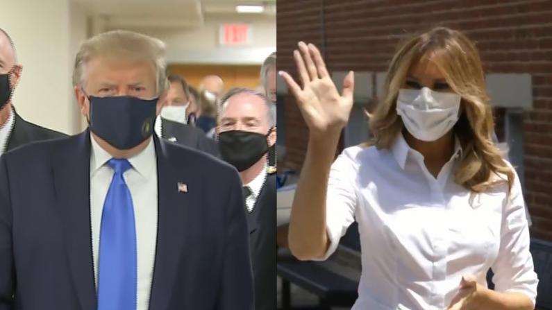 夫唱妇随!第一夫人梅拉尼娅首次戴口罩向公众露面