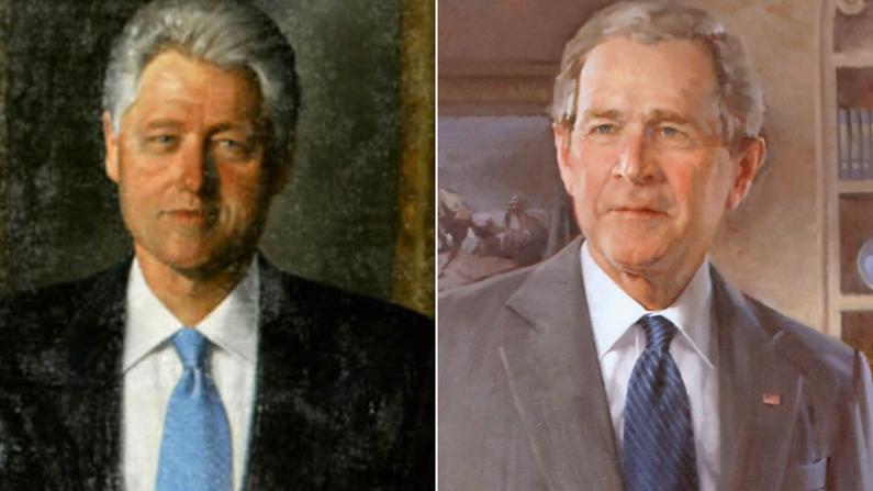 克林顿布什肖像从白宫大厅撤下 被放在鲜有人烟的小房间