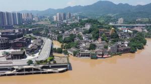 长江洪峰过境重庆 千年古镇磁器口被淹