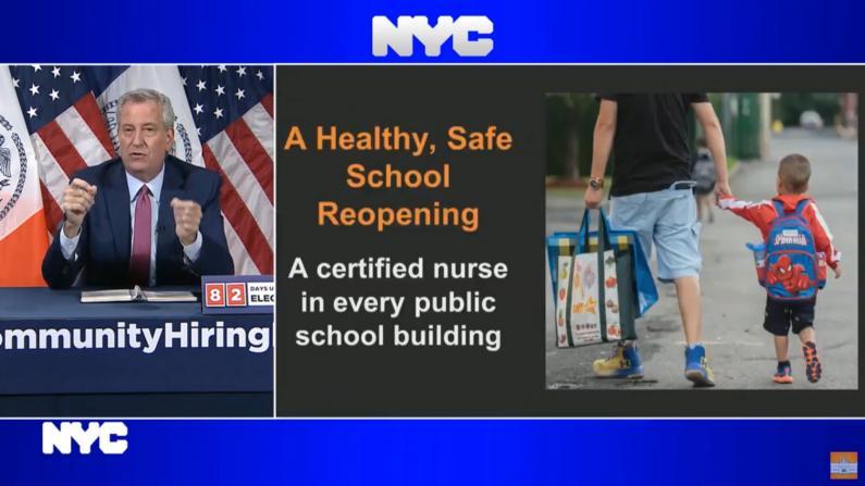 纽约市长:秋季公校复课全部配备认证护士
