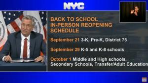 又推迟了!纽约市宣布初高中开学将延至10月