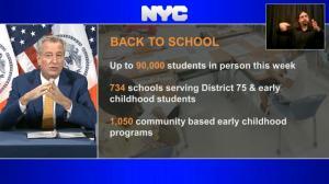 纽约市公校恢复面授教学第一天 9万孩童回归课堂