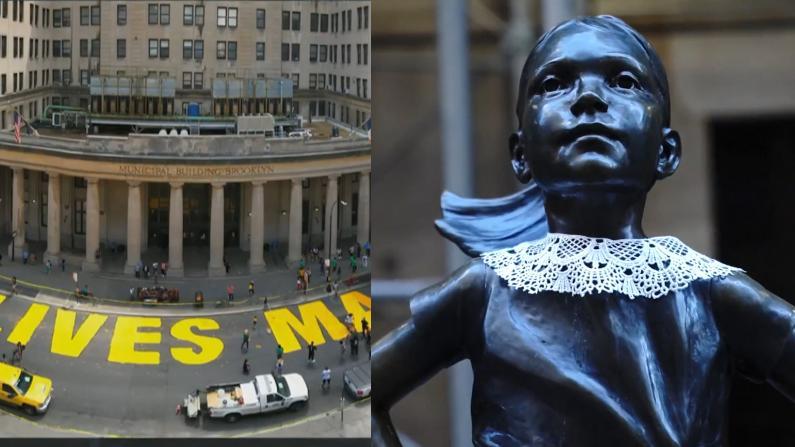 无畏少女像披上蕾丝领 市政大厦改名 纽约这样纪念金斯伯格