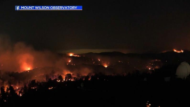 居民区可见明火 洛杉矶山猫野火烧毁11万英亩