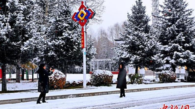 """大兴安岭落下首场降雪 中国最冷小镇开启""""童话模式"""""""