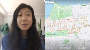 Vote 2020!旧金山一华裔女子用这种方式呼吁投票