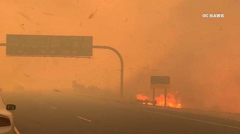 狂风大作 南加华人区多场山火延烧过千亩