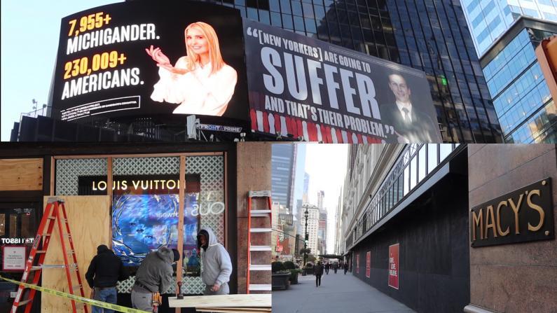 大选在即时报广场人流锐减 纽约客:明天就离开