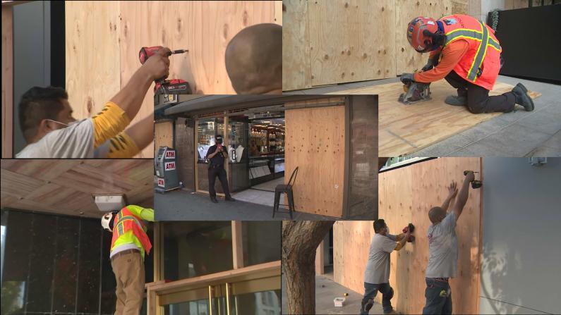 大选前的洛杉矶:商家怕被抢 纷纷装木墙