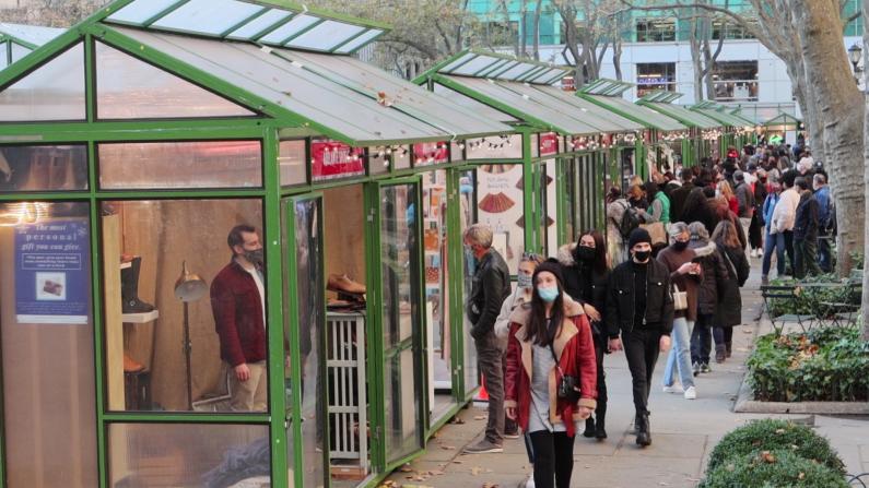 疫情飙升不减纽约客过节热情 冬季集市周末热闹非常