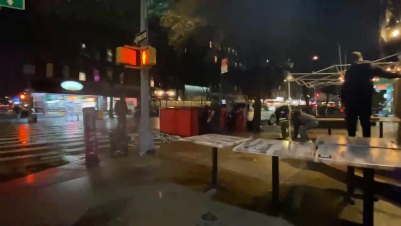 强风暴雨夜袭纽约市!数千户停电 不少室外用餐设施被毁