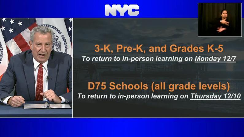 纽约市长突宣布公校重开方案 强调有条件一周五天到校上课