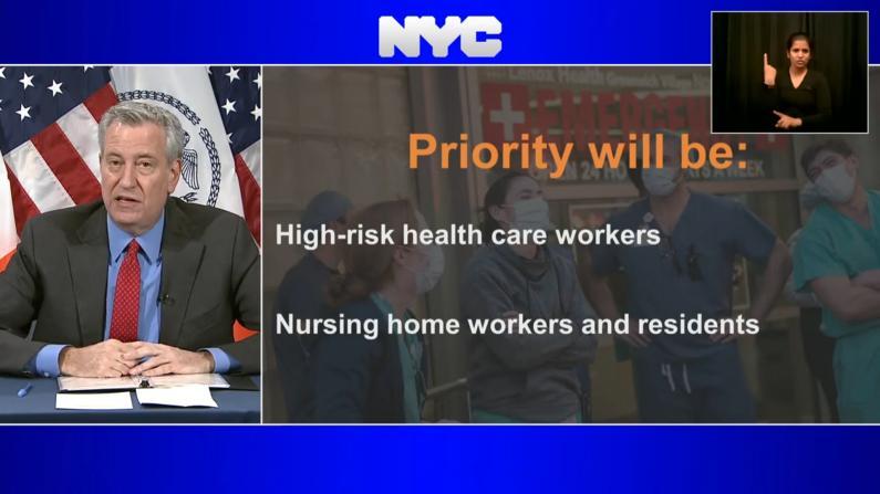 白思豪:纽约第二波疫情已在眼前 疫苗将优先医疗人员