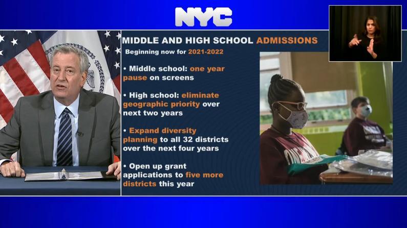 【实录】纽约市公校录取重大改革 市长白思豪详解