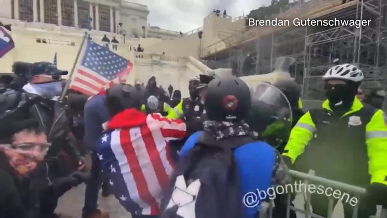 抢夺围栏 投掷不明物品 示威者国会外与警方肢体冲突