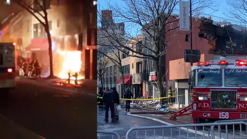 纽约法拉盛七级大火 7人受伤 楼宇烧塌 商家尽毁